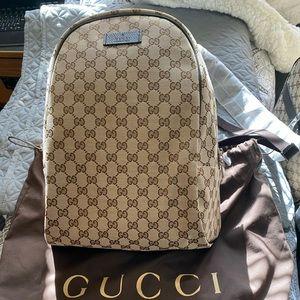 Gucci Top ZIP Backpack Monogram GG Beige/Brown